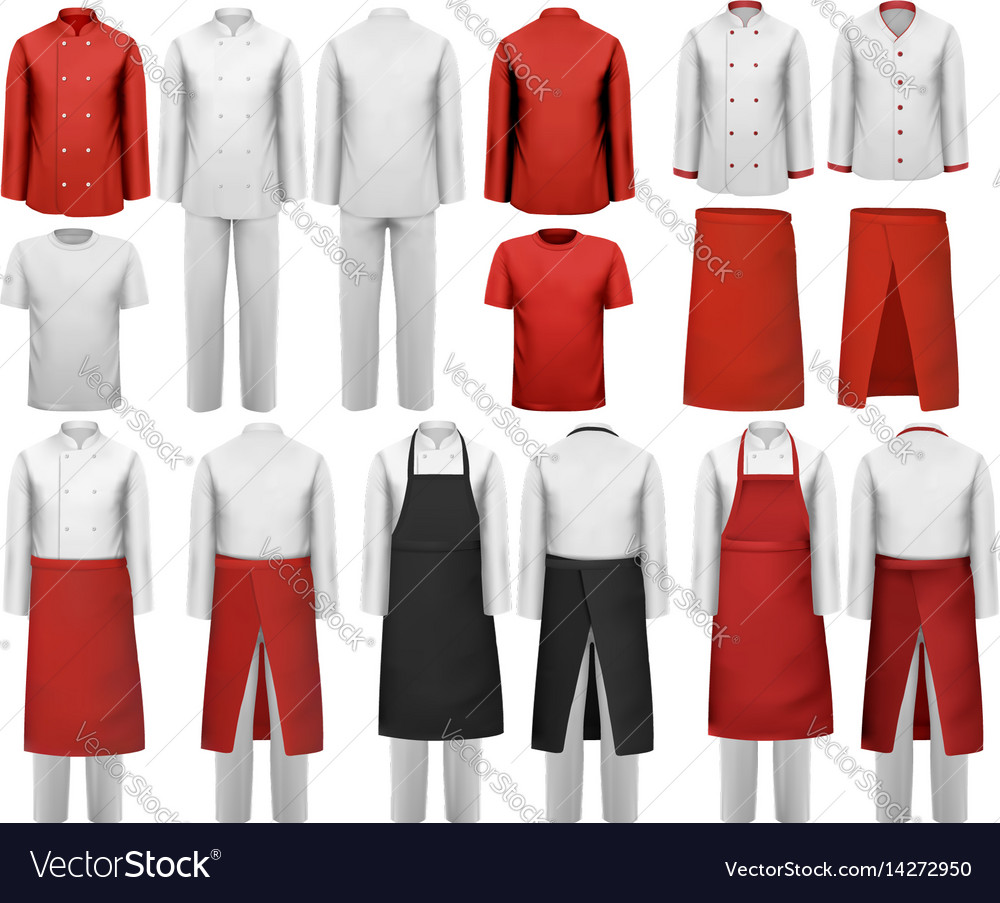 Big set of culinary clothing white and red suits vector image