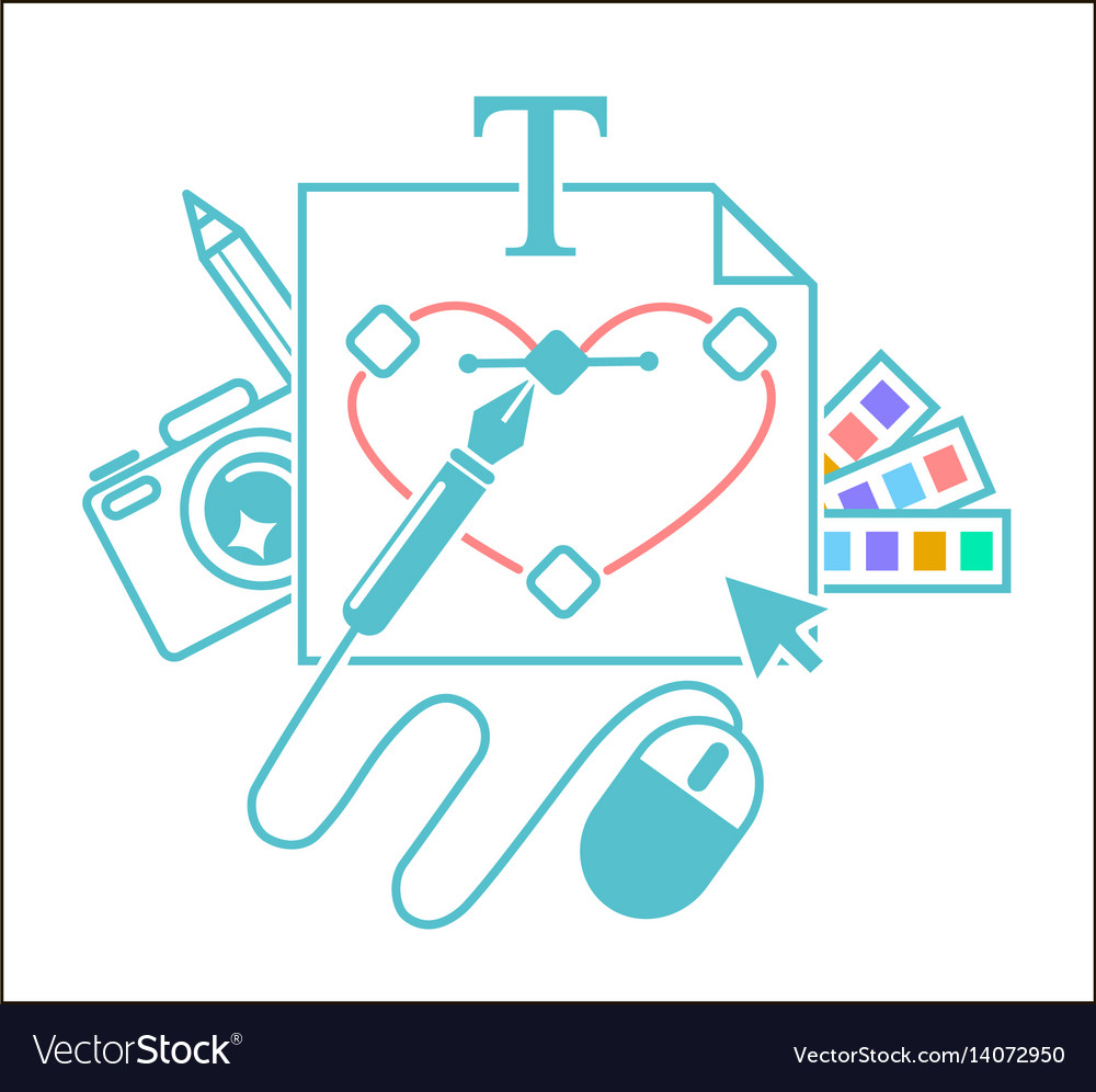 Concept of the work of a designer vector image
