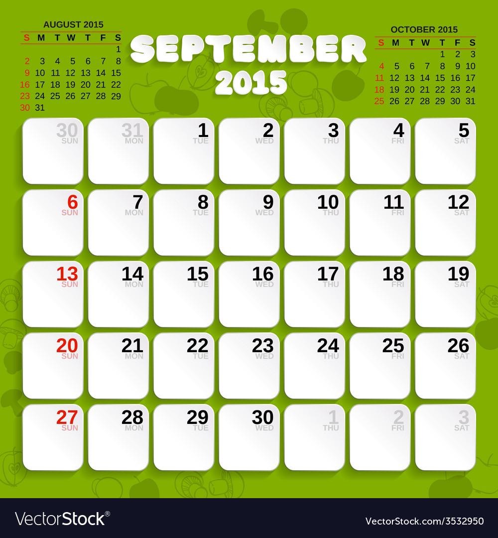 september month calendar 2015 royalty free vector image