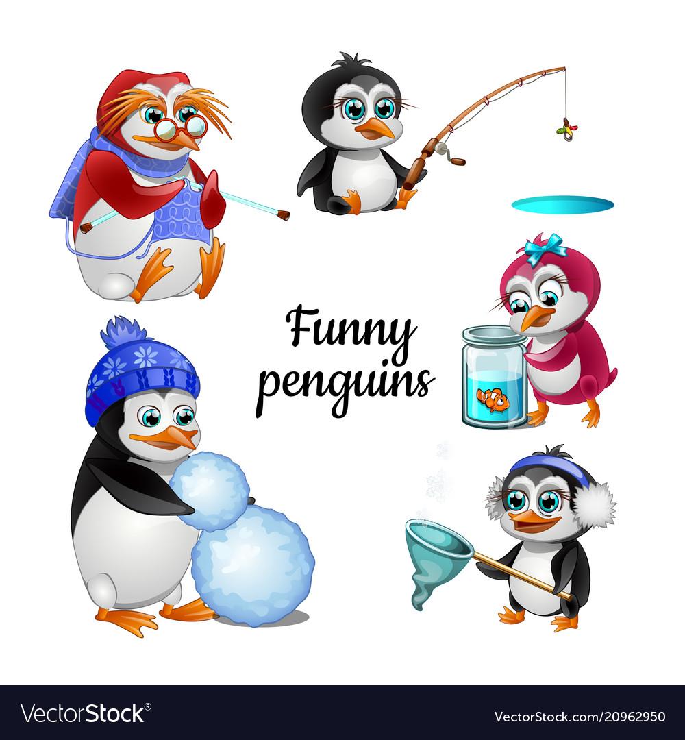 Set funny animated penguins isolated on white