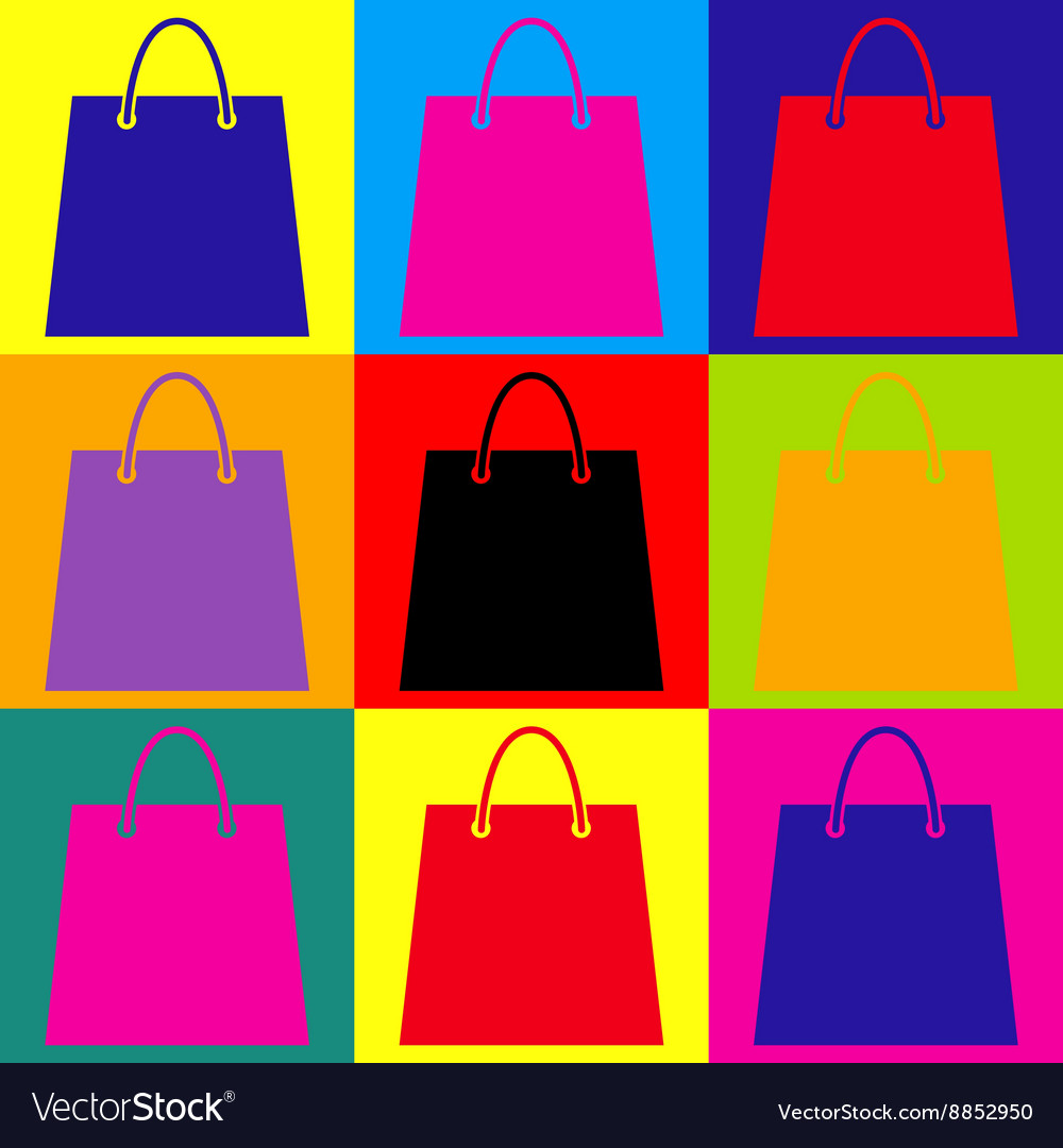 b97b8a2892ce Shopping bag Pop-art style icons set Royalty Free Vector