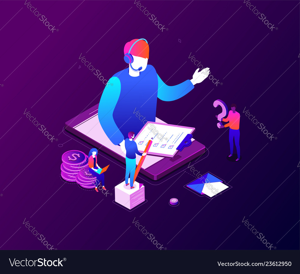 Technical support - modern colorful isometric