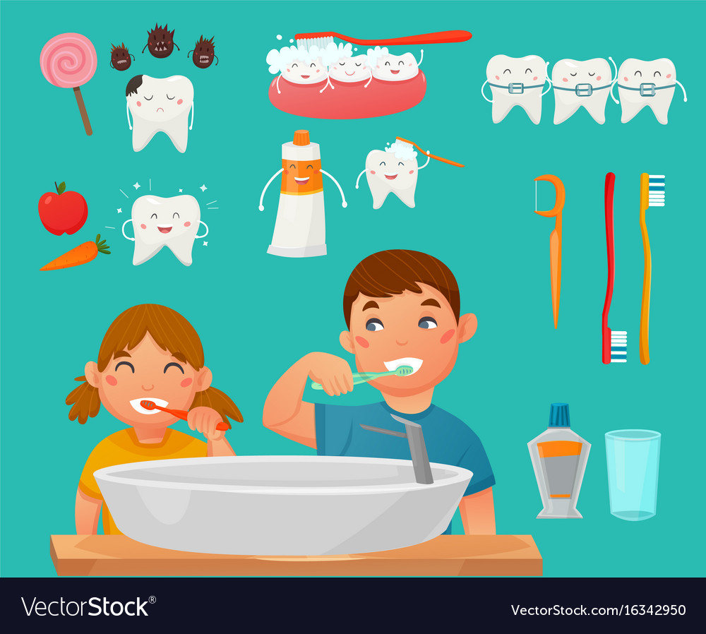 Teeth brushing kids icon set vector image