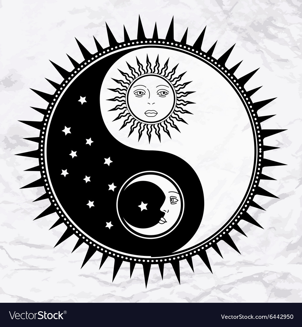 Yin Yang Symbol With Moon And Sun Royalty Free Vector Image