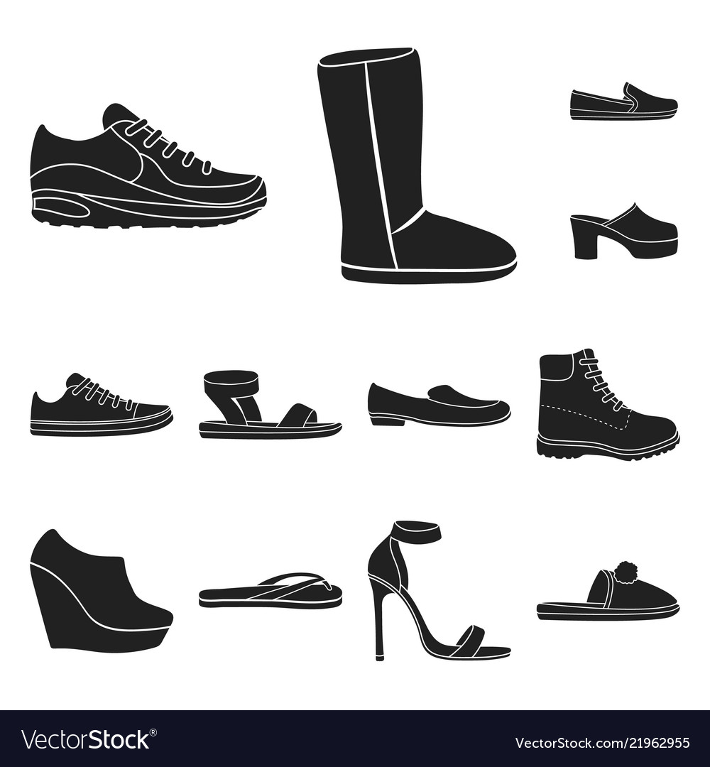 b204a25ae4dc A variety of shoes black icons in set collection Vector Image