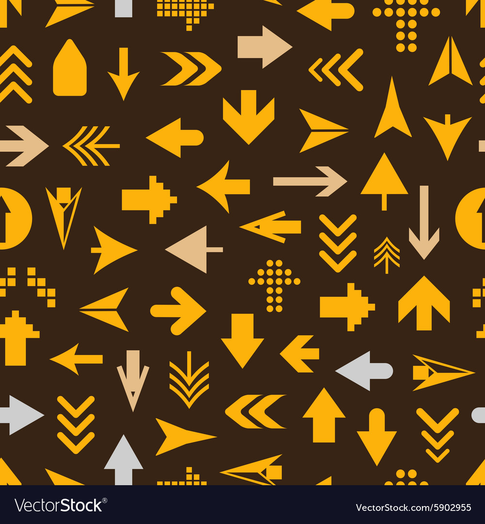 Arrow sign silhouettes seamless pattern