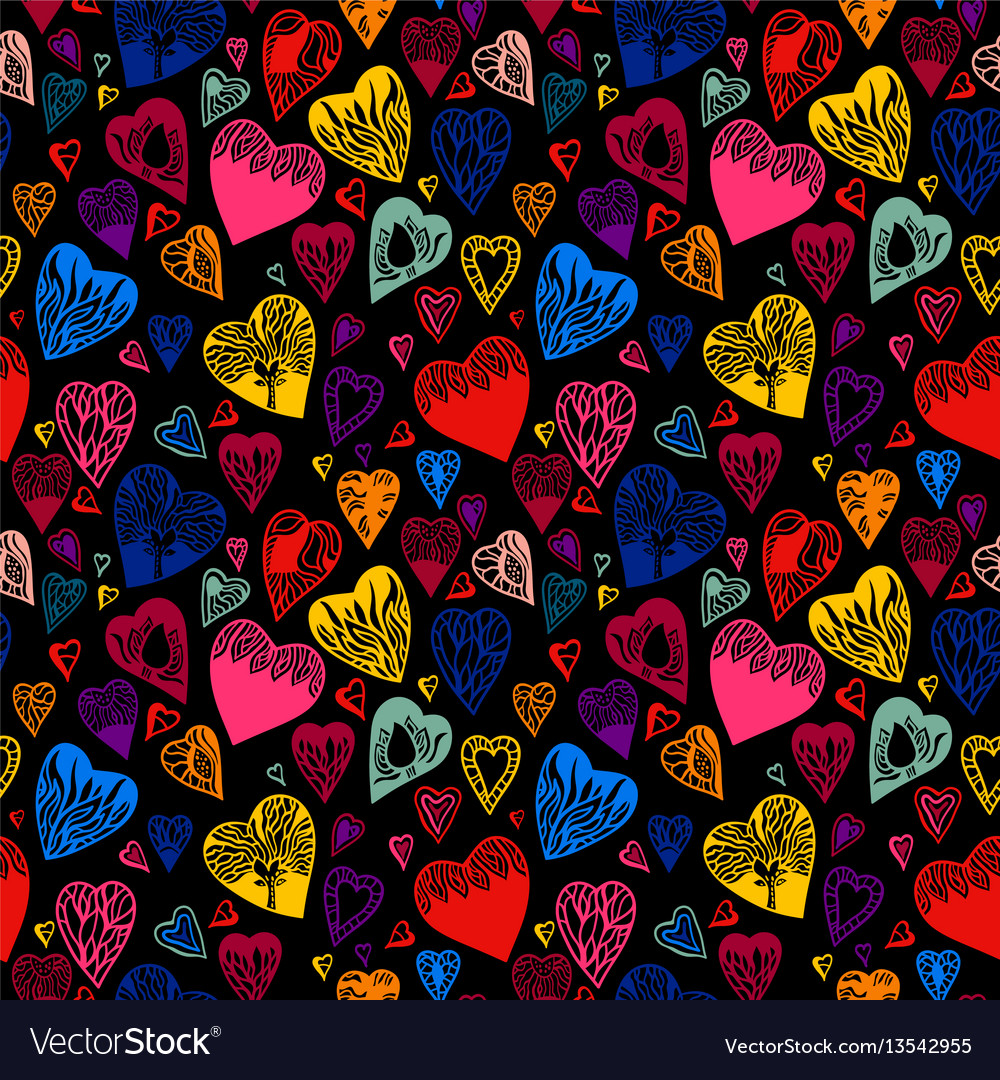 Bright cartoon seamless pattern with hearts
