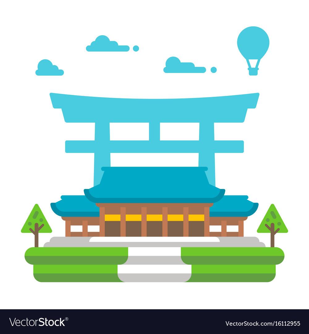 Flat design meiji shrine tokyo