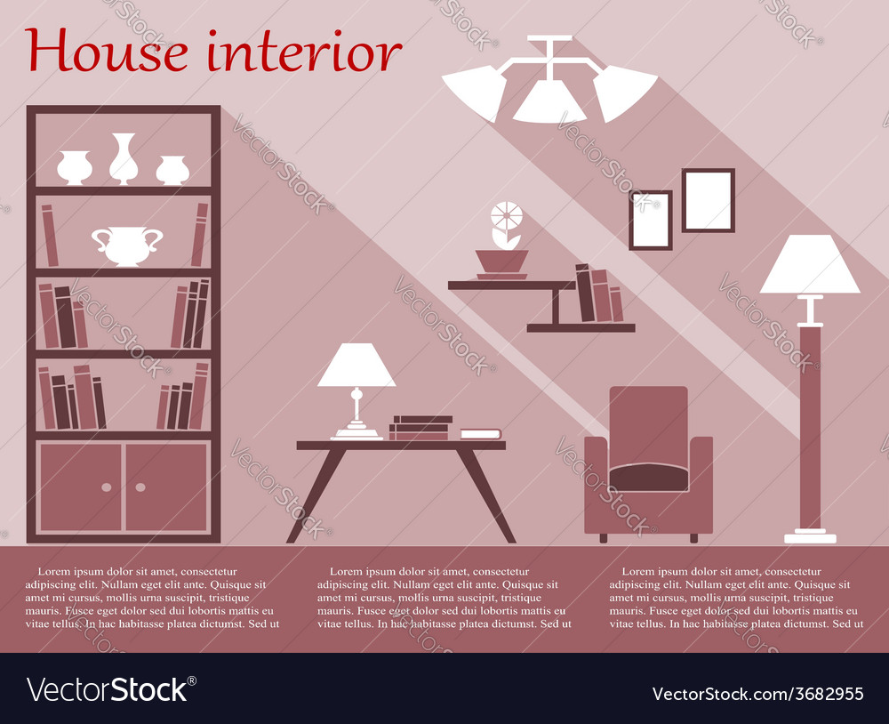 House interior infographic in flat style with