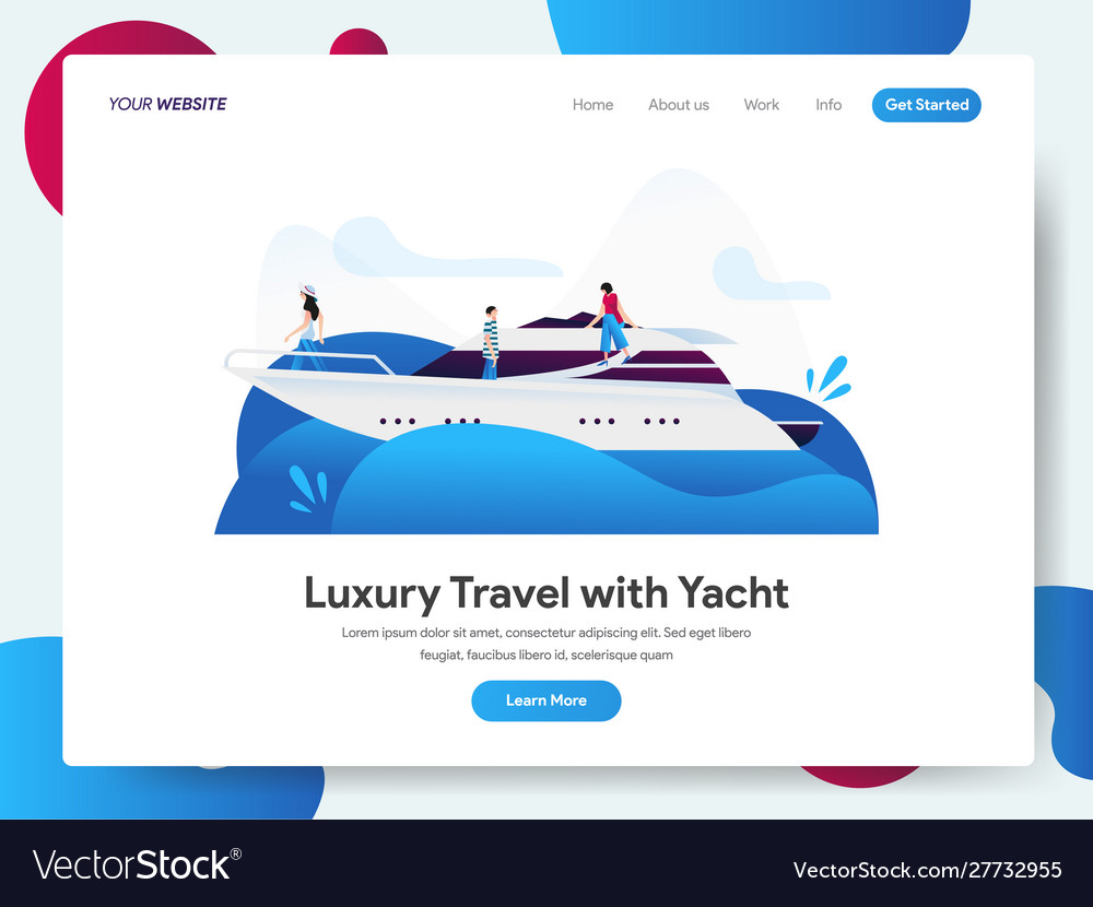 Landing page template luxury travel with yacht