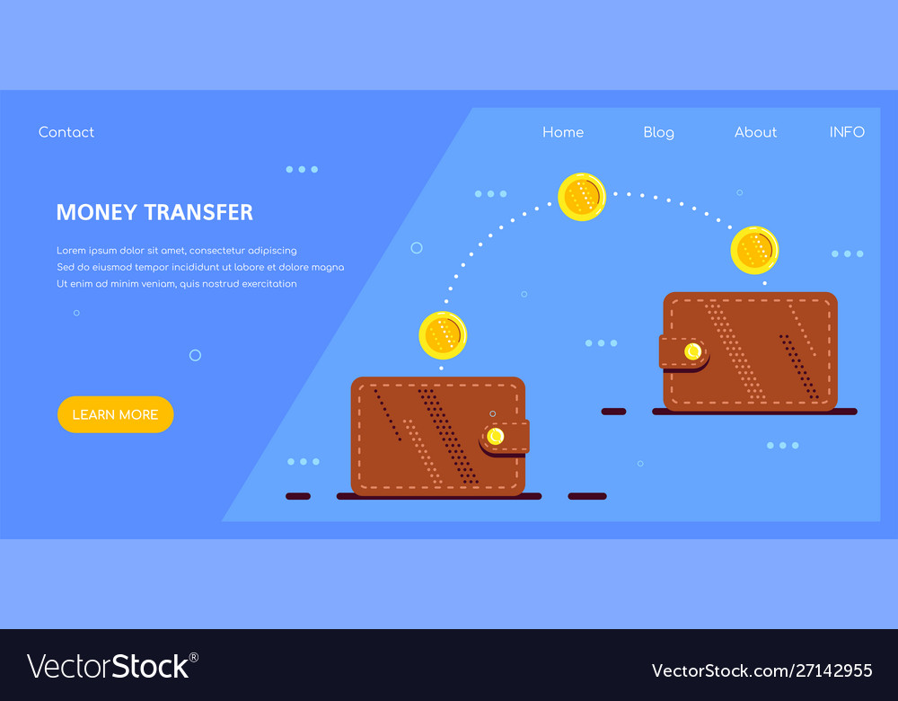 Money transfer with electronic wallet flat design