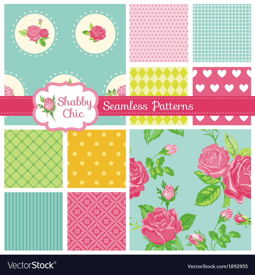 Set of Floral Seamless Patterns and Backgrounds