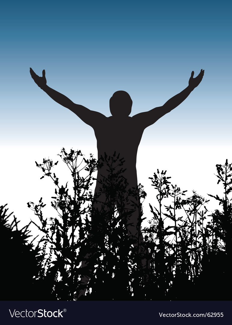 Silhouette man vector image