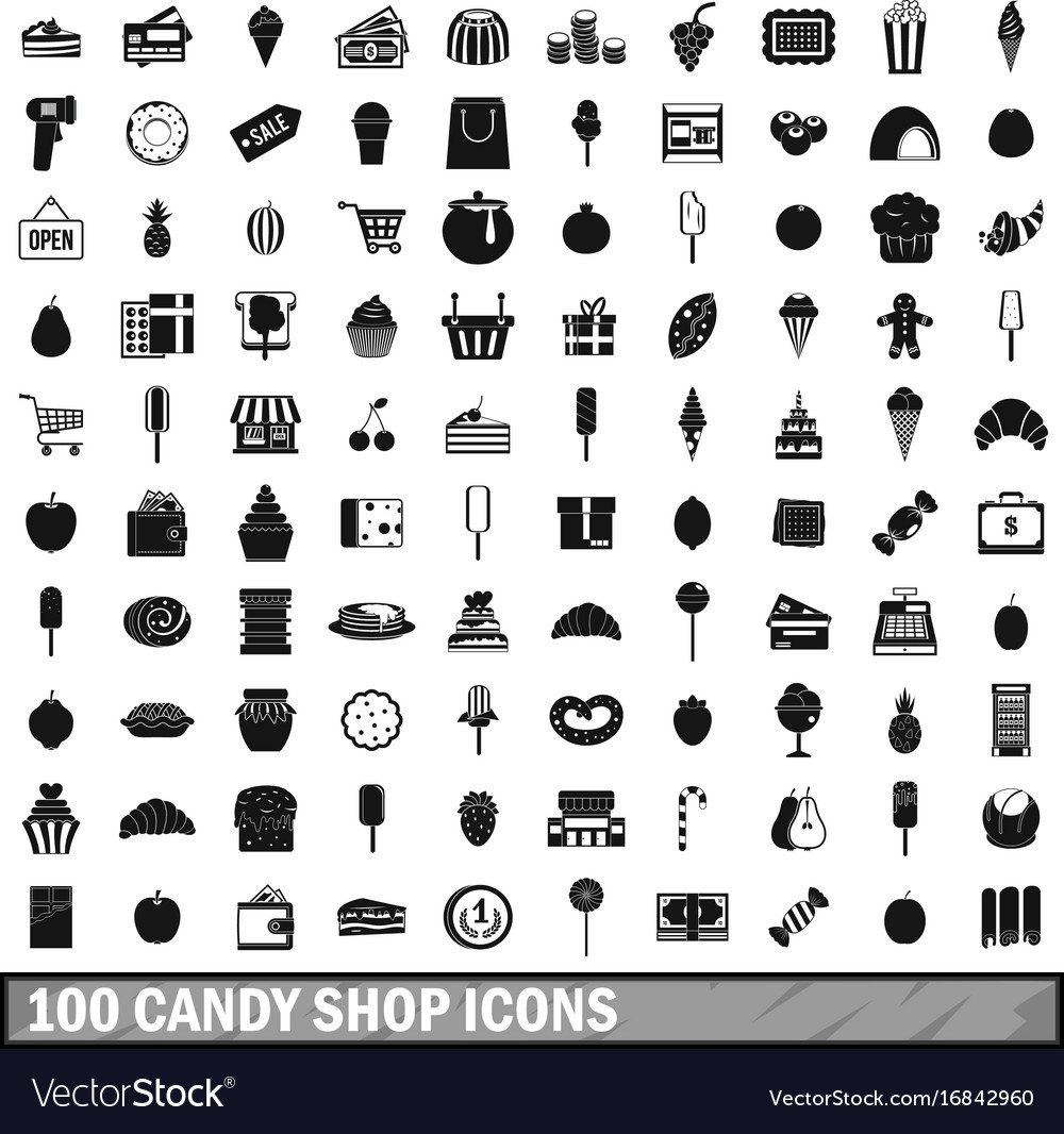efb0c671 100 candy shop icons set simple style Royalty Free Vector