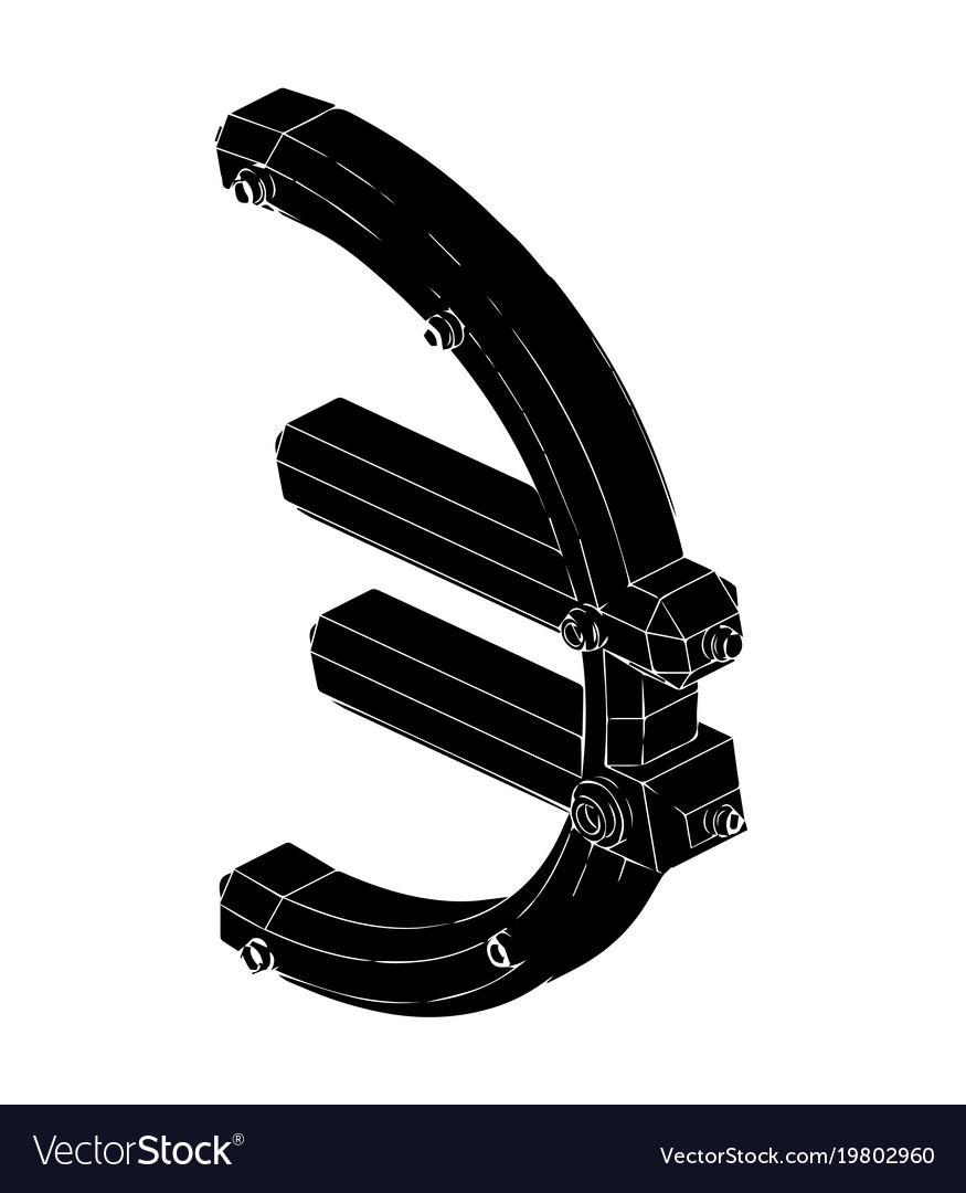 Black 3d model euros vector image on VectorStock