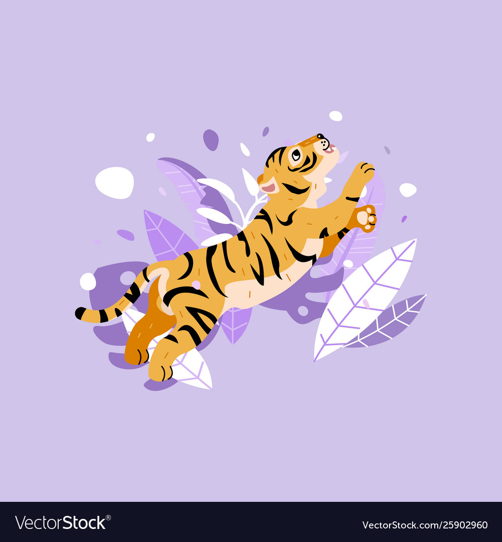 Cheerful tiger jumping in rainforest funny tiger