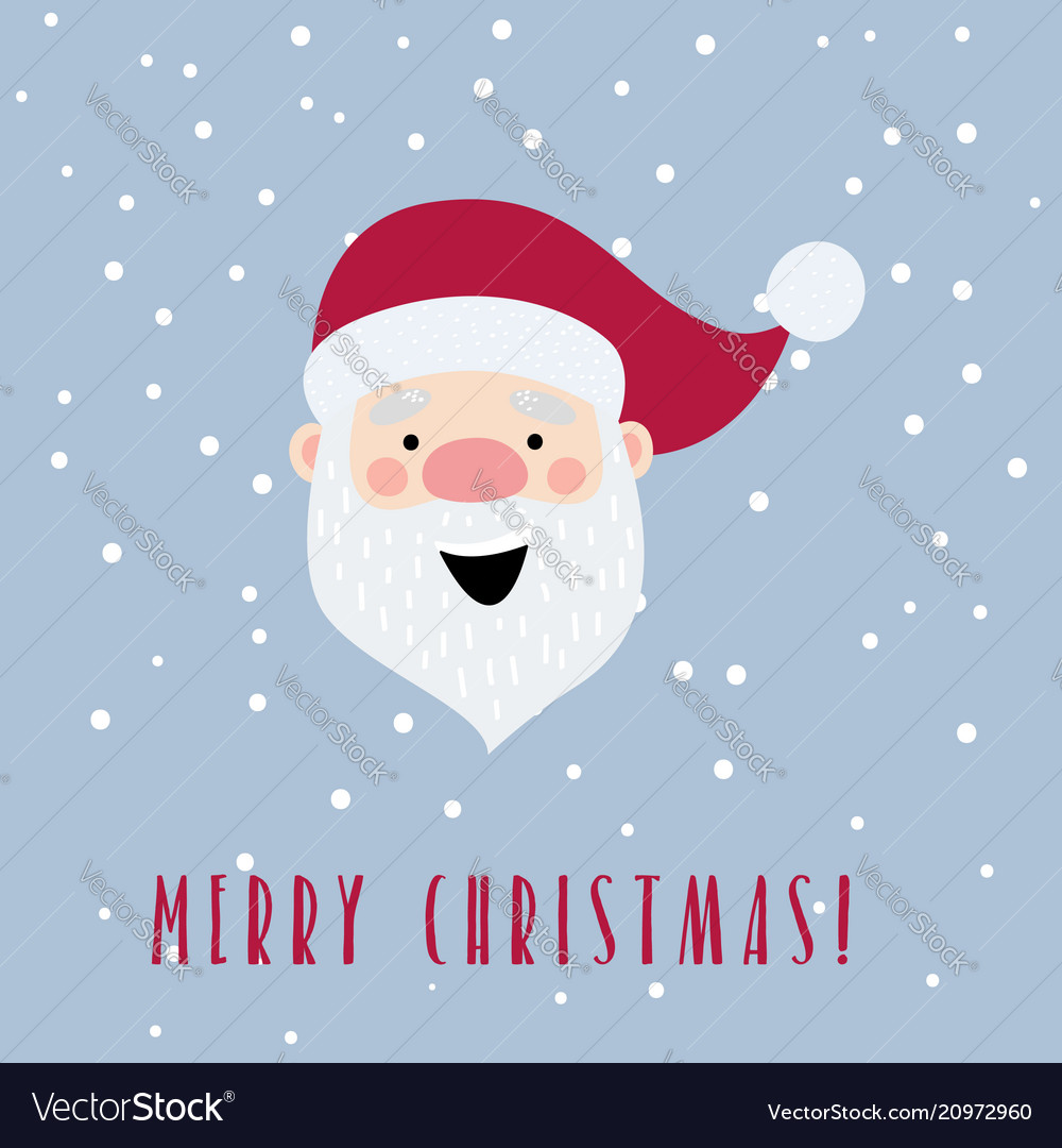 Christmas card with cartoon santa claus