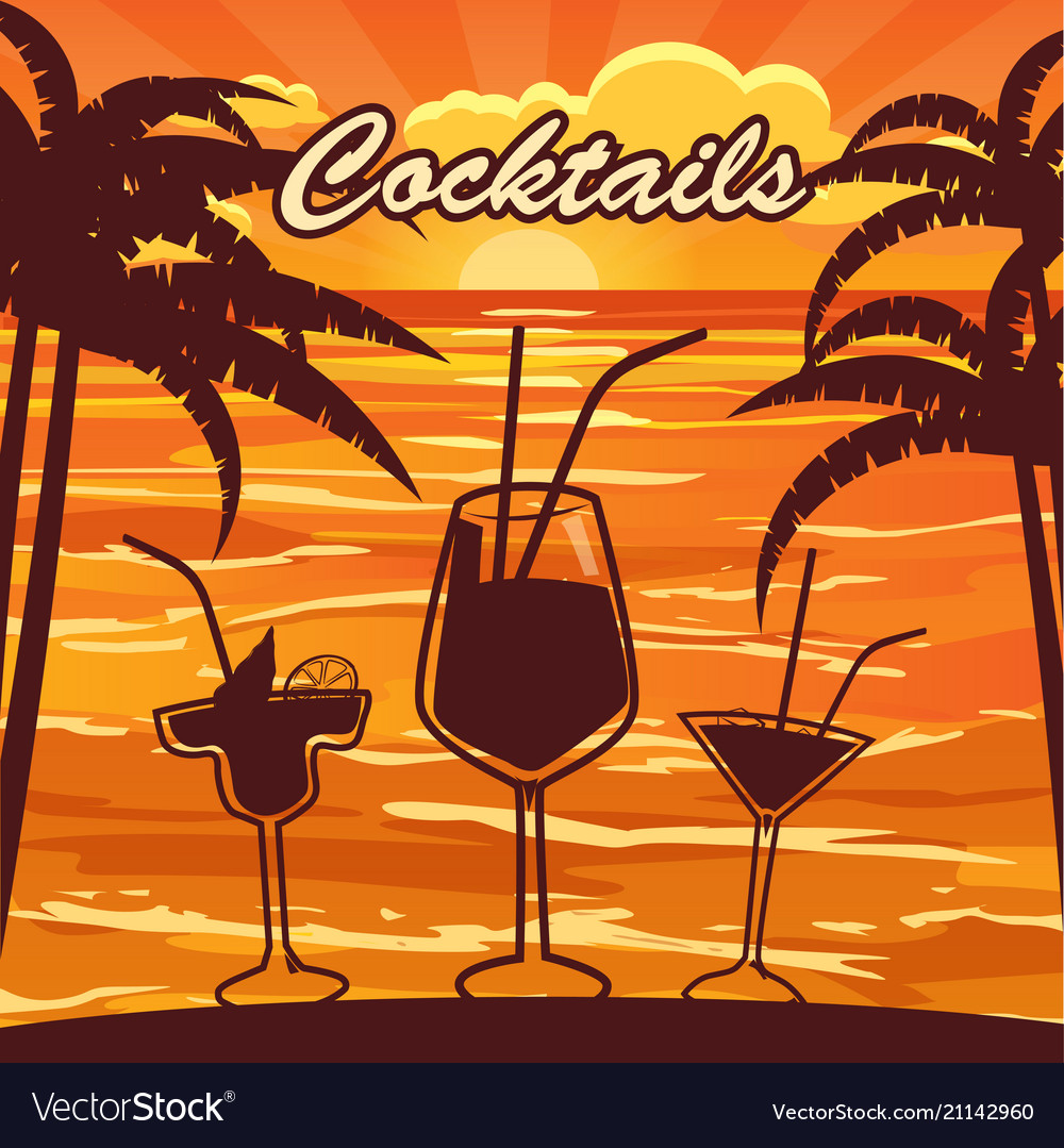 Cocktail bar invitation flyer cartoon style