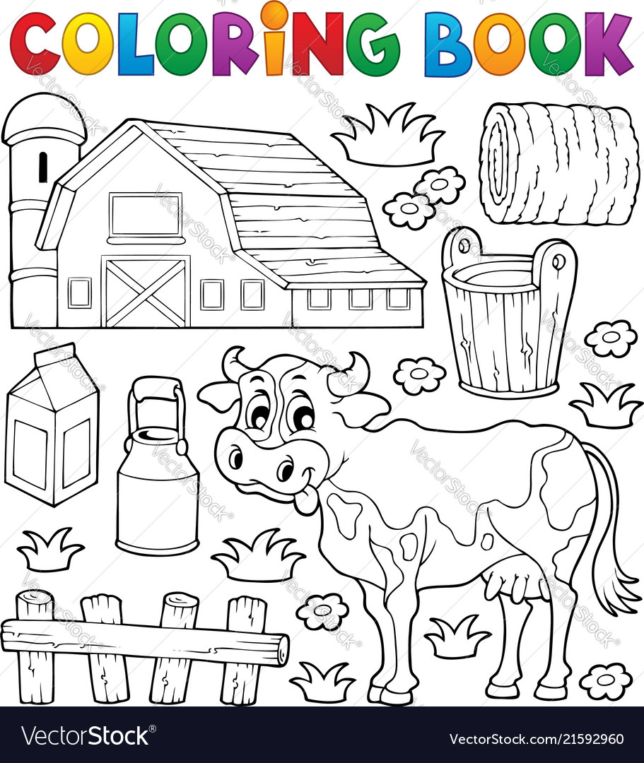 Coloring book cow theme 1 Royalty Free Vector Image
