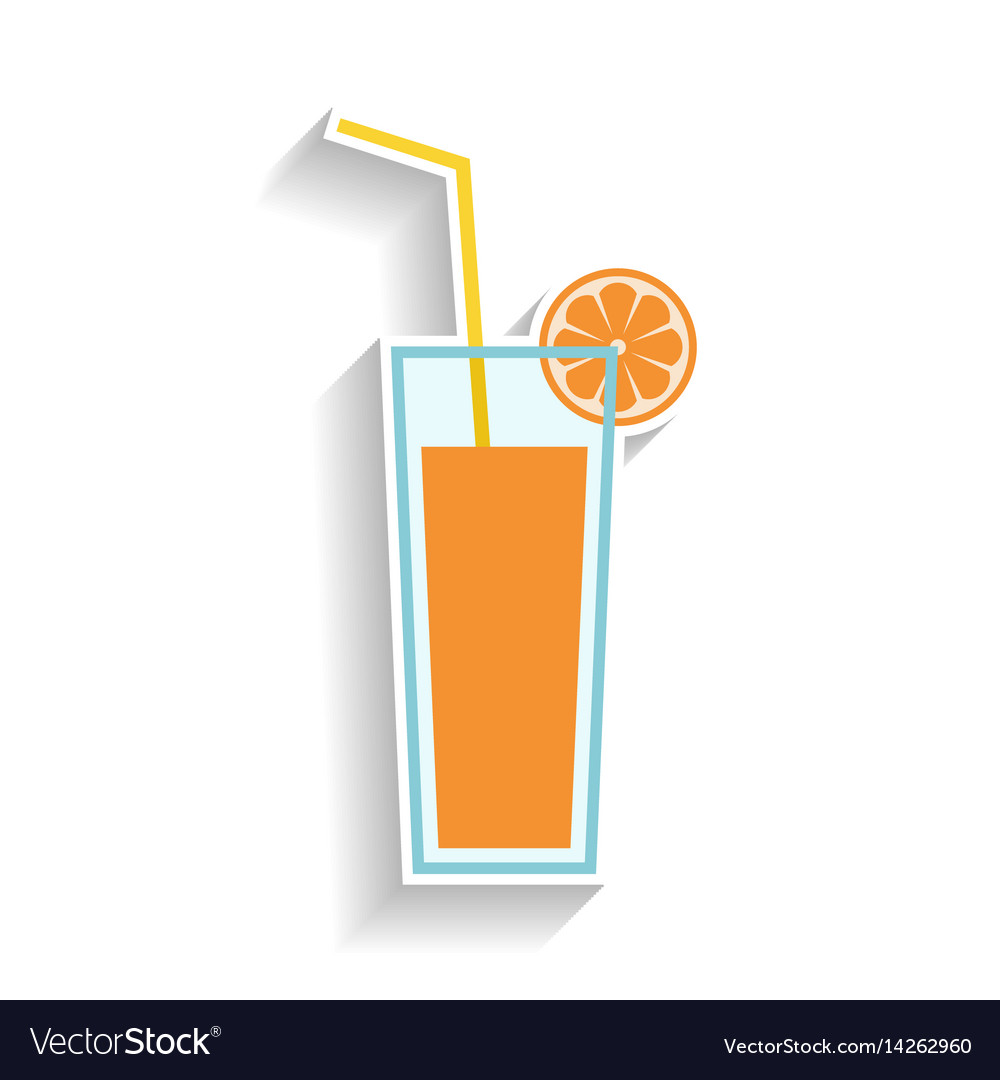 Glass of orange juice with drinking straw flat vector image