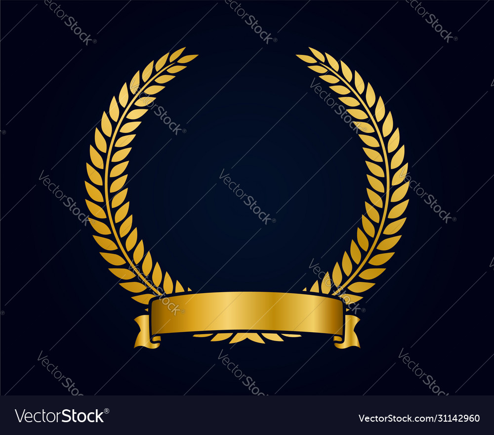 Golden emblem template for logo gold branches and