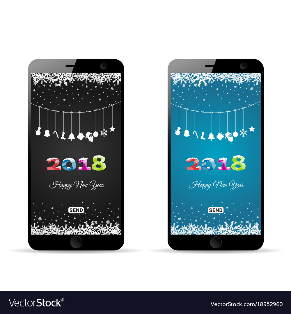 Happy new 2018 year on mobile phone