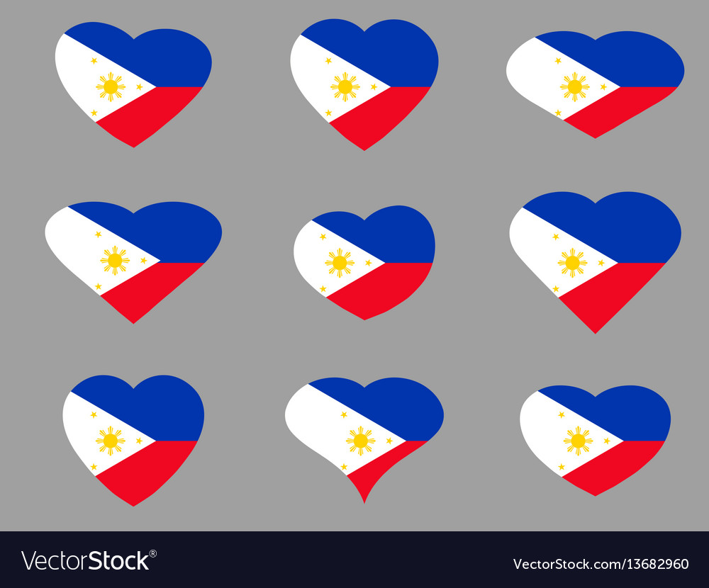 Hearts with the flag of philippines i love