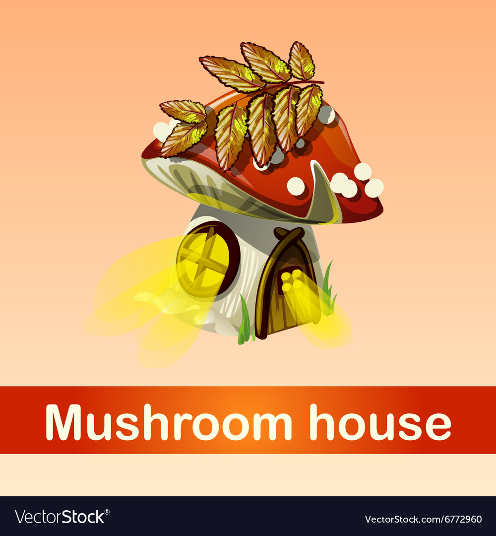 House in forest mushroom fantasy phenomenon vector image