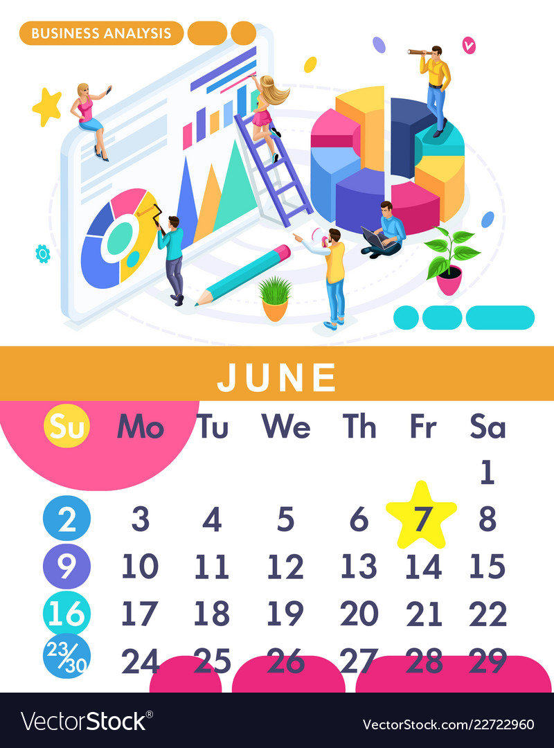 Isometric calendar of 2019 business analysis