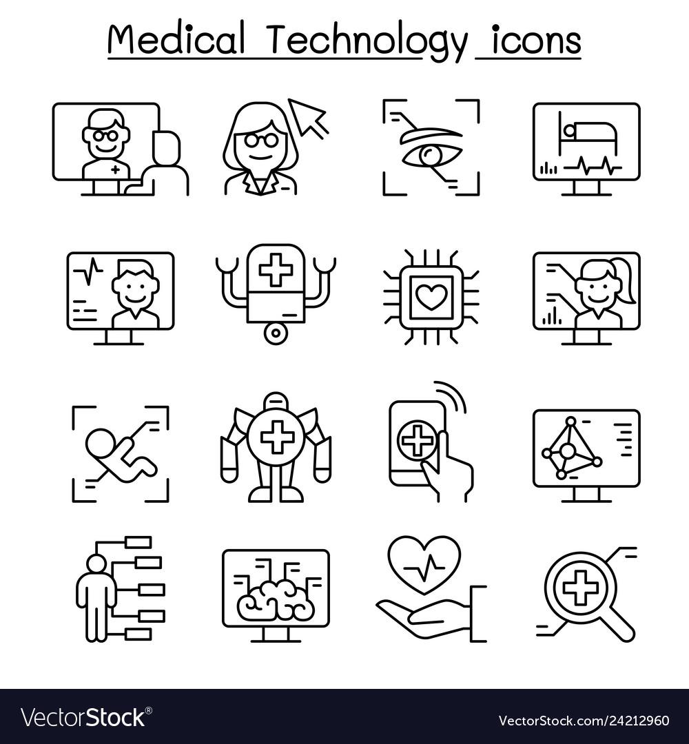 Medical technology futuristic medicine icon set