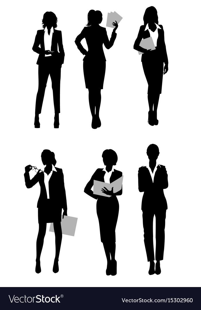 Six businesswomen silhouette vector image