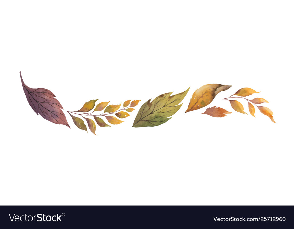 Watercolor wreath with autumn leaves