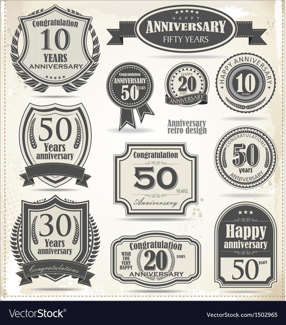 Anniversary badges and labels retro design