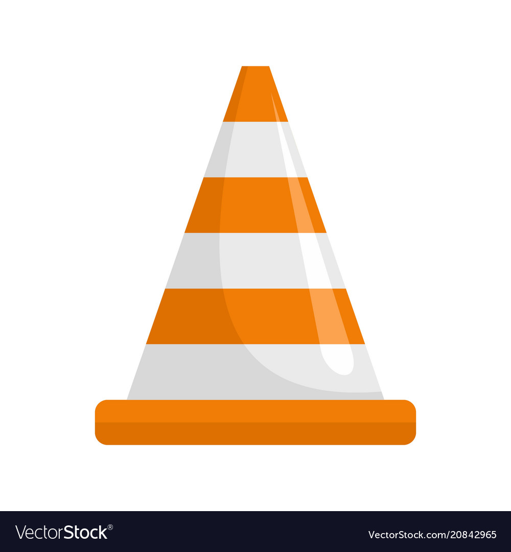 Attention cone icon flat style