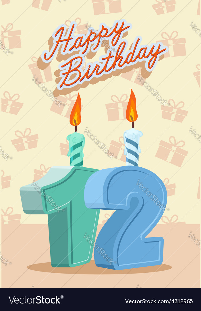 Birthday Candle Number 12 With Flame Vector Image