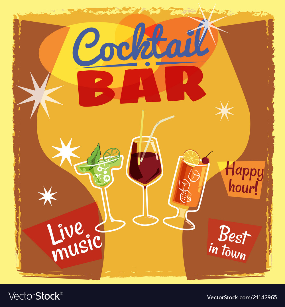 Cocktail bar invitation flyer cartoon style