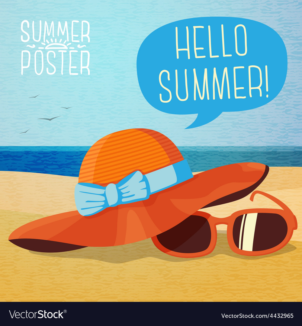 1c52596954f Cute summer poster - hat and sun glasses on the Vector Image