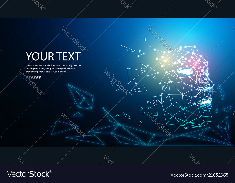 Digital particle face technology concept