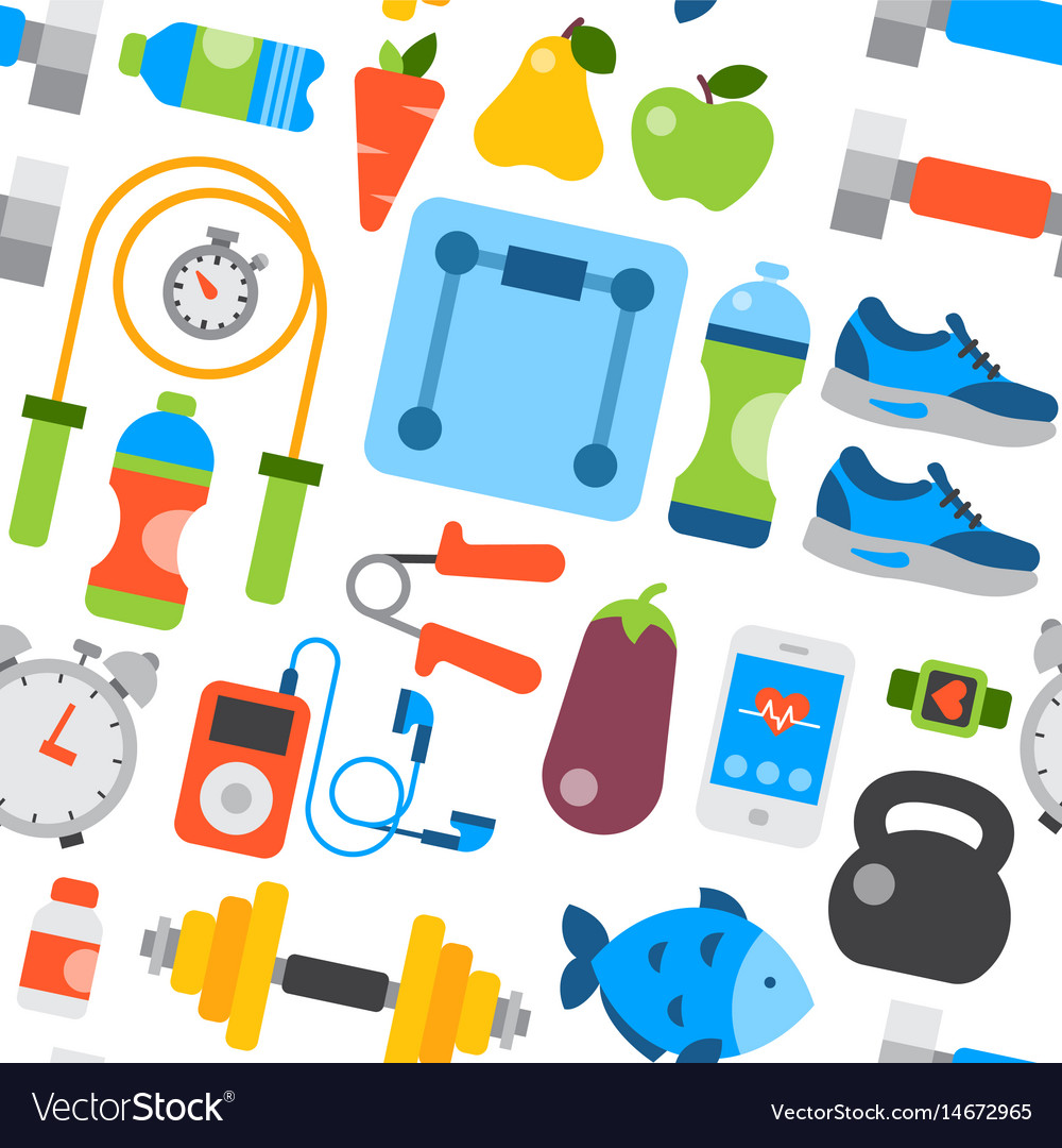 Healthy lifestyle daily eating icons and sport vector image