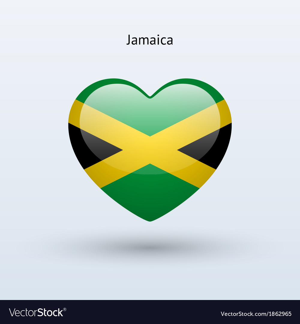 Love jamaica symbol heart flag icon vector image