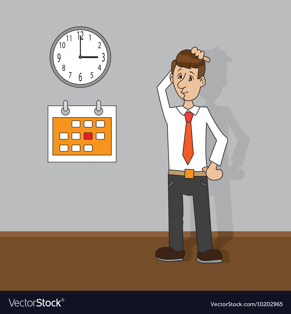man looking at clock and calendar royalty free vector image
