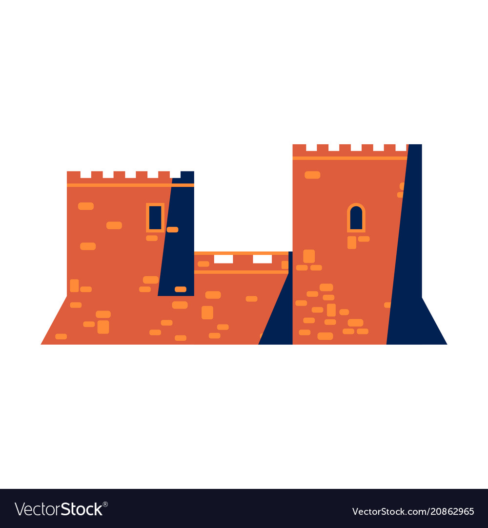 Medieval mediterranean castle or fortress icon