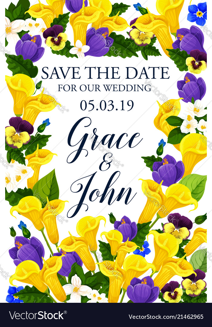 Save The Date Wedding Flowers Card
