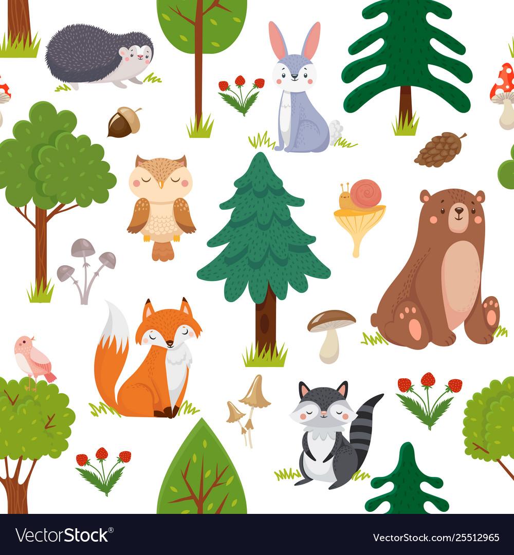 Seamless woodland animals pattern summer forest
