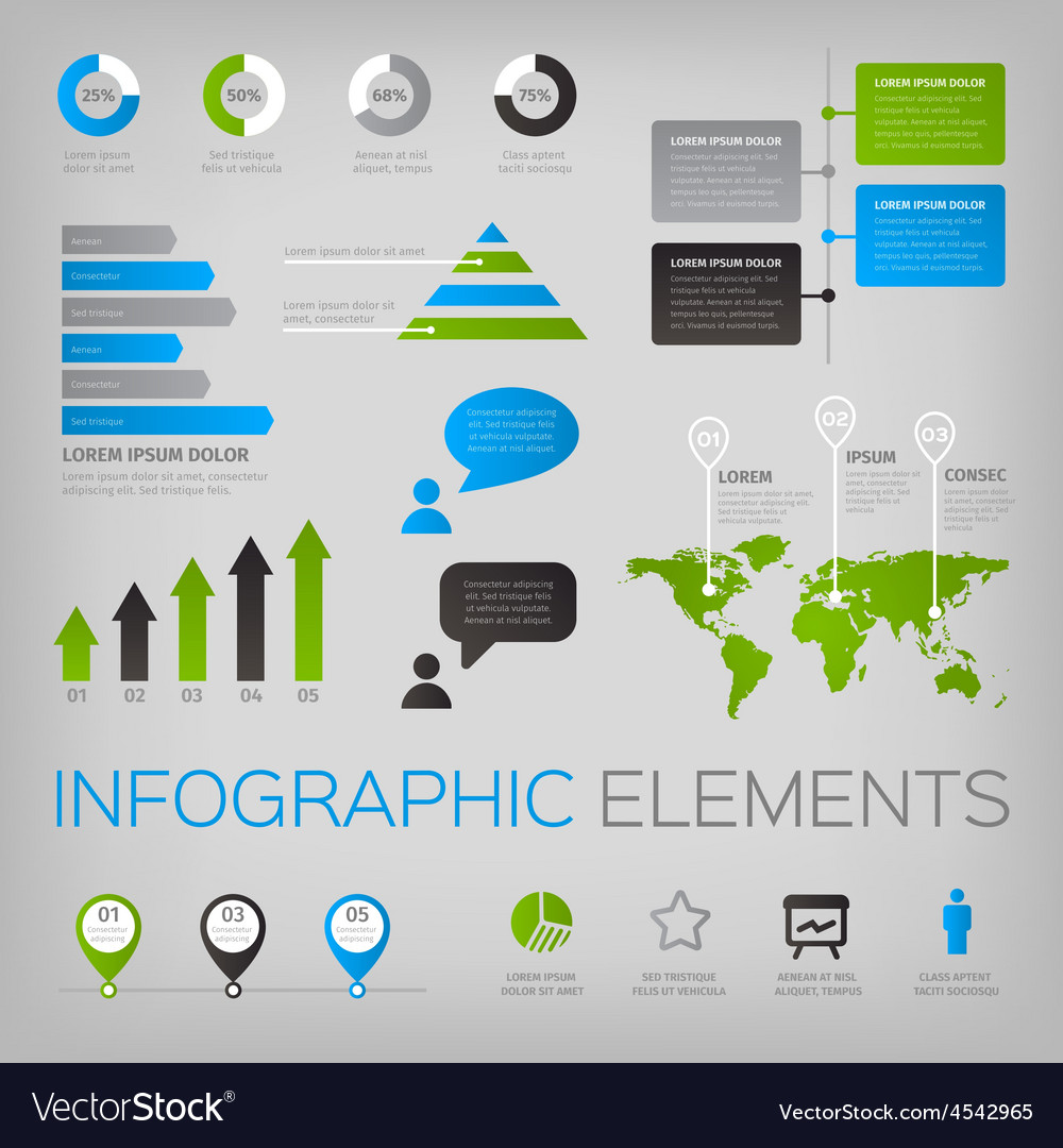 Set of infographic elements with world map