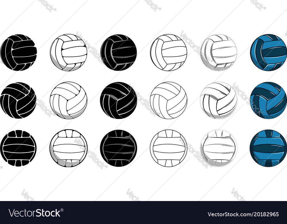 Set volleyball icon contour ball colored ball vector image