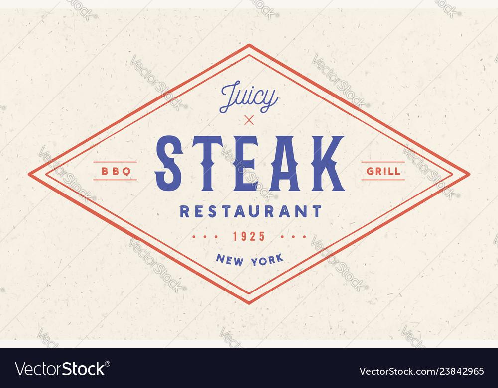 Steak logo meat label logo with text steak