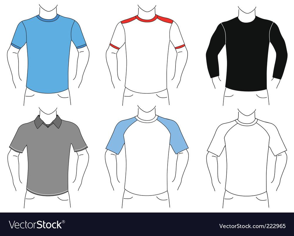 blank t shirt outline. Blank T Shirt Set Vector