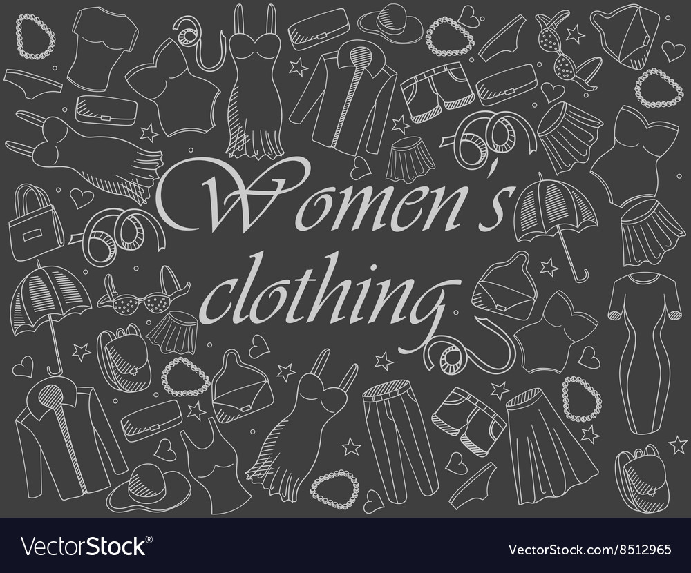 Women clothing chalk vector image