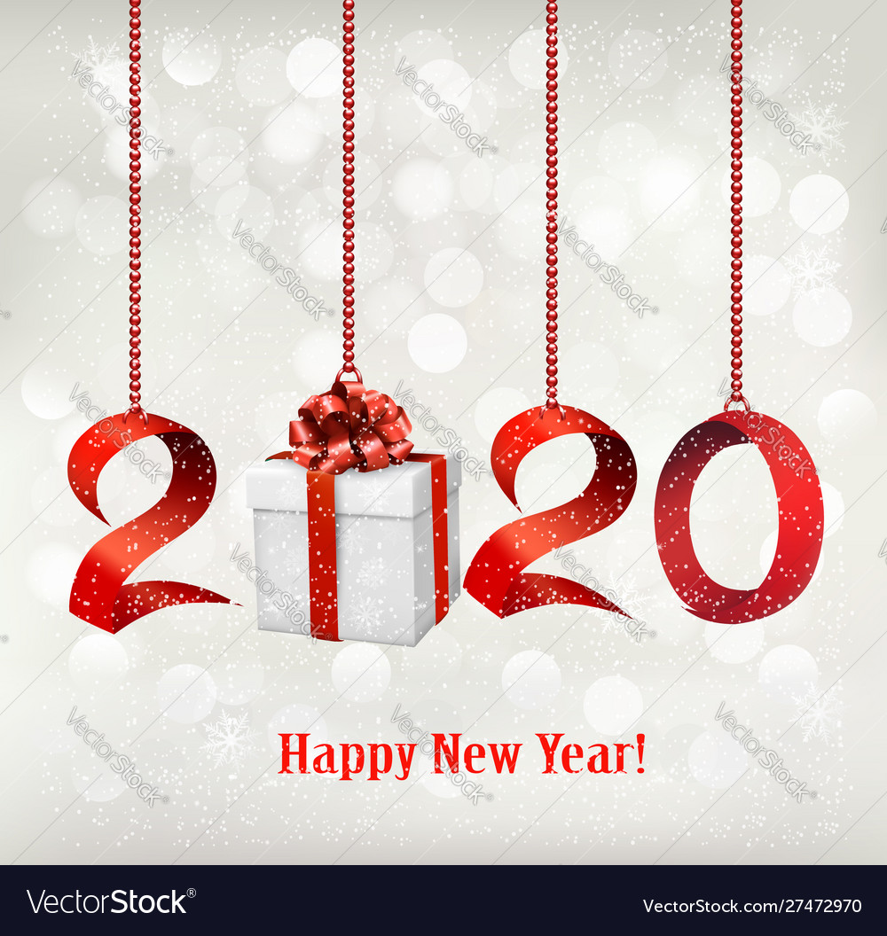 2020 new years background with gift box and red